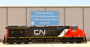 No. 3087, an Evolution Tier 4 locomotive built for Canadian National Railway, rolled off the assembly line in July as the 1,000th locomotive built at GE's plant in Fort Worth. - GE Manufacturing Solutions