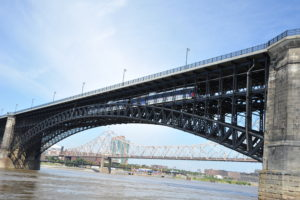 After four years and $48 million, rehabilitation of the Eads Bridge spanning the Mississippi River is complete. The bridge is used to carry auto and MetroLink light-rail trains. - Metro Transit St. Louis
